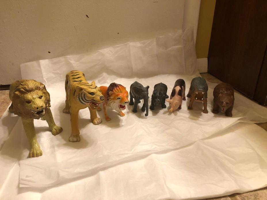 Mixed lot of 8  Vintage Plastic Toy Animals Imperial 11''Jungle zoo figures 1980