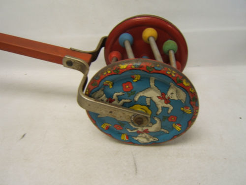 Vintage Gong Bell Push Pull Toy Tin Litho Lambs Complete Still Chimes