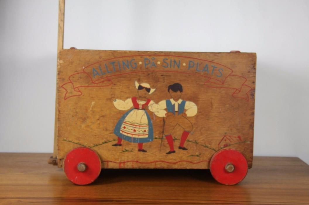 Antique Children's Wooden Toy Chest Box, Swedish Dutch Wagon