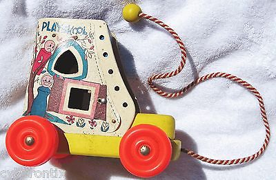 Playskool Vintage Pull Toy Old Woman Who Lived in a Shoe White Yellow USA