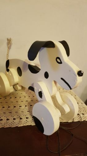 NEW Wood Dalmation pull toy dog ~puppy ~ black & white Fire House dog HANDMADE!