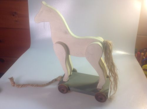 Decorative Handmade Primitive Wooden Horse On Wheels / Pull Toy