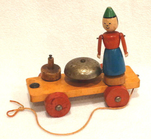 Antique German Wooden Pull Toy with Bell, 6.5