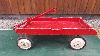 Antique Large Wood Wagon Pull Toy in Great Condition Has 4 Rubber Rim Wheels