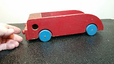 Antique, Wooden Red Car, Truck, Pull Toy
