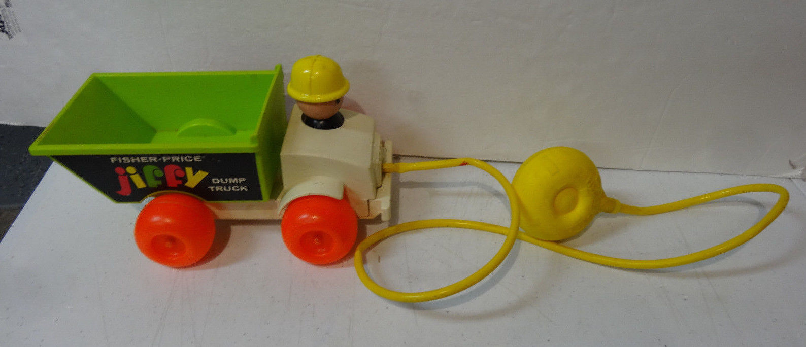 Vintage 1970 FISHER PRICE Jiffy Dump Truck #156 Pull Toy Head Moves & Dumps