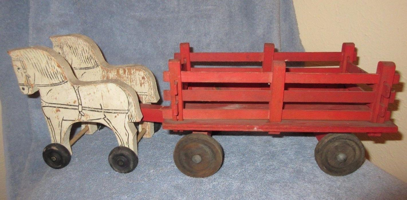 Vintage Wooden FARM HORSES & WAGON TOY @ 1930, 18