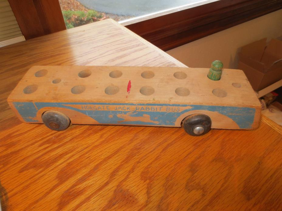 1940's HOLGATE Wooden Pull ToyJACK RABBIT BUS  as is No top