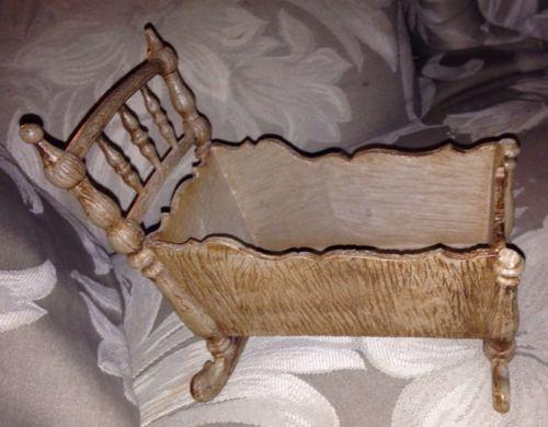 Molded Plastic Faux Wood Gothic Toy Crib 8