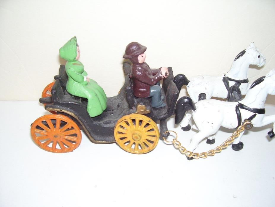 Metal Old time Horse and Wagon with Rider Driver Toy Good Condition