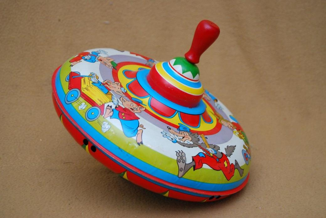 VINTAGE Tin Toy Ohio Art Spinning Top - 3 Little Pigs Theme *EXCELLENT CONDITION