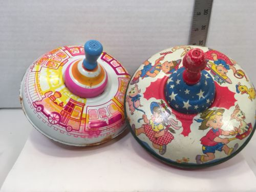 OHIO ART Tin Spinning Tops Lot Of 2 Works Vintage