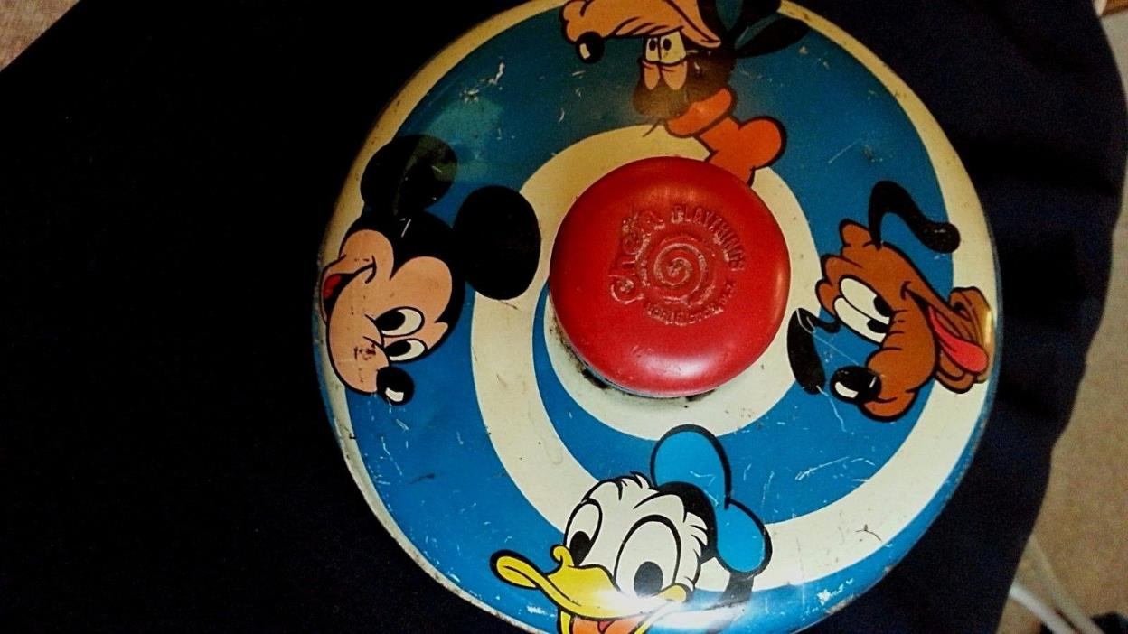 Vintage Chein 1973 Disney Mickey Mouse Donald Duck Pluto-Goofy Spin Metal Top