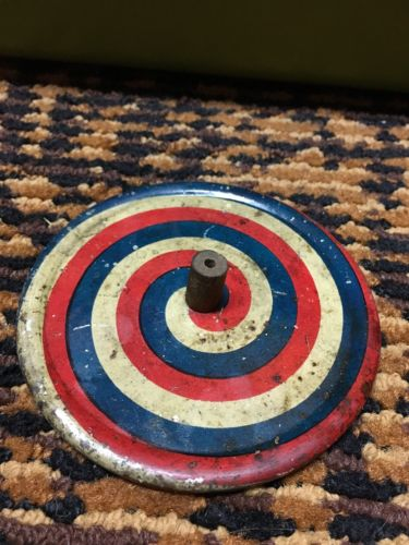 50's Vintage Very Thin Metal Spinning Top Toy (NEXT DAY SHIPPING!)