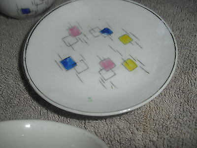 SILVER RIMMED - WHITE WITH COLOR SQUARES TEA SET COMPONENTS