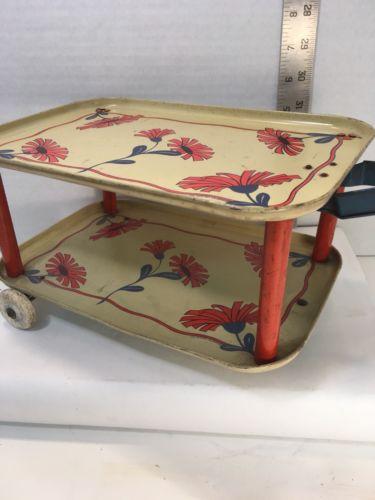 OHIO ART Tea Serving Rolling Cart 2 tier Tin Vintage Toy