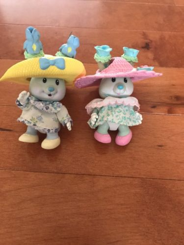 Lot Of 2 Vintage Uneeda Kidsview Tea Cup Bunnies Toys Easter (No Cups)