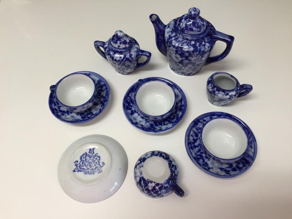 Miniature Child's Doll Tea Set Painted Cobalt Blue & White Free Shipping NICE