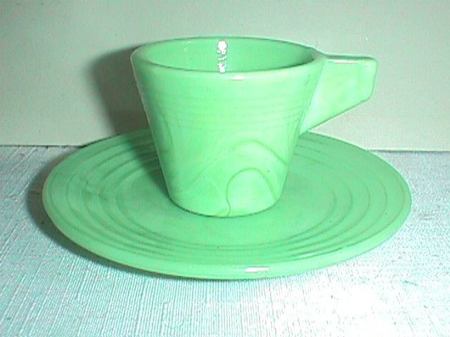 Green Marble Akro Agate Cup SAUCER Plate Set Childs CHILDRENS