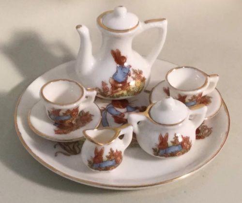 Vintage Bunny Rabbit Child's Mini Tea Set