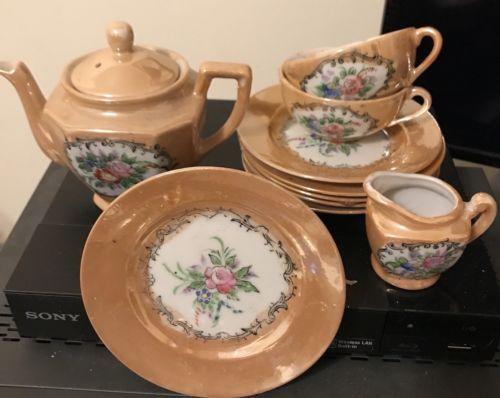 Vintage Luster Japanese Porcelain Childs Tea Set Japan Noritake Art Deco 10pcs