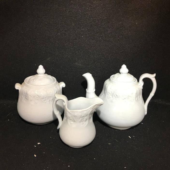 Child's White Ironstone Tea Set- Botanical Medallions