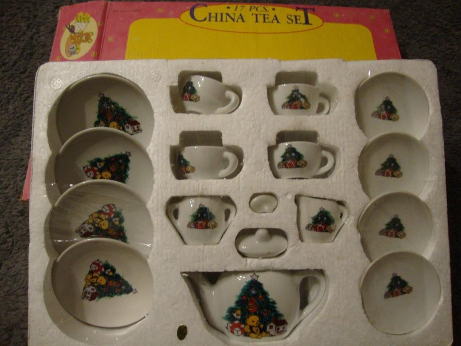 Vintage Children's Christmas China Tea Set By ABC ITEM #16765 NEW    121