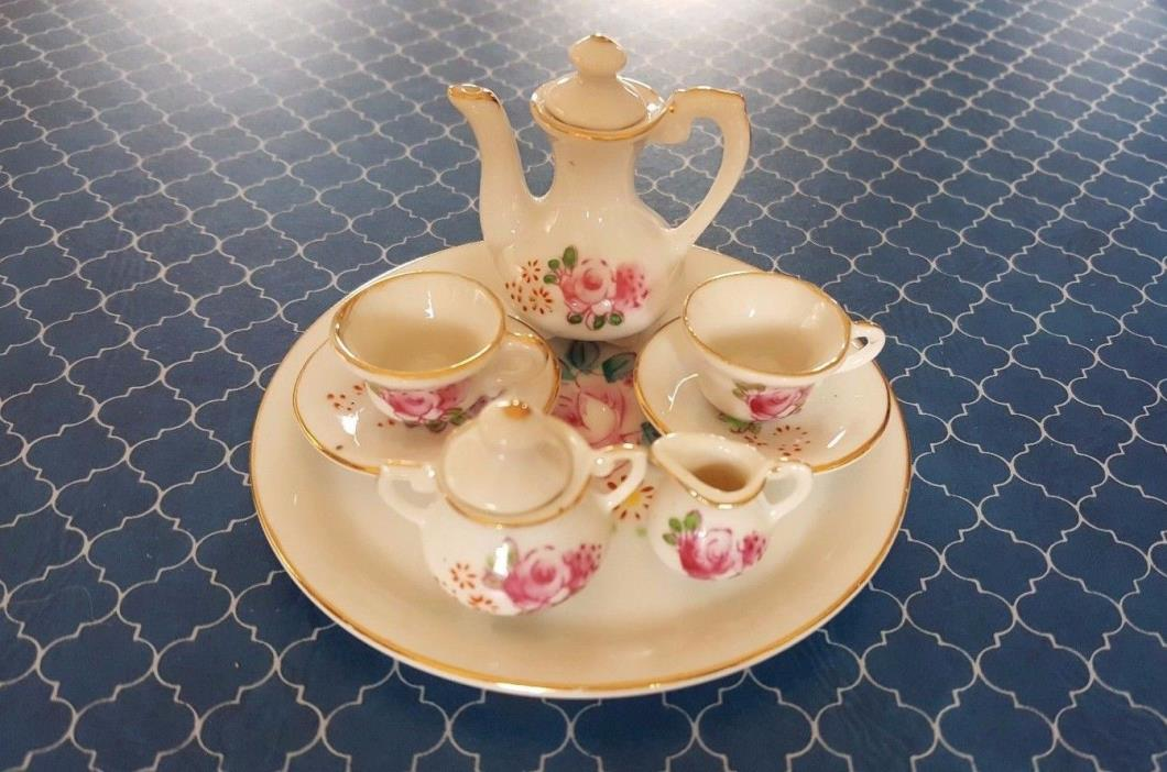 Vintage Miniature Phil Papel Crown West Fine Porcelain Floral Tea Set Japan