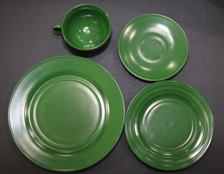 VINTAGE 4 PIECE SET HAZEL ATLAS GREEN CHILDRENS PLAY DISHES TEA SET