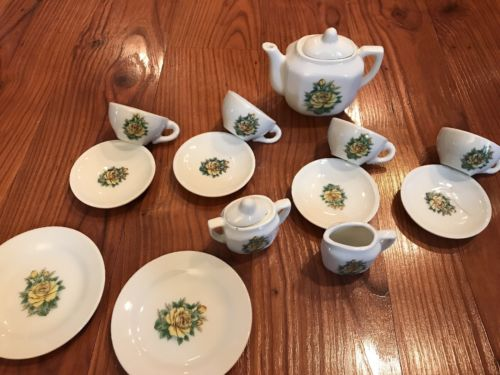 Vintage Porcelain Child's Tea Set Made In Japan floral yellow pattern 1940s