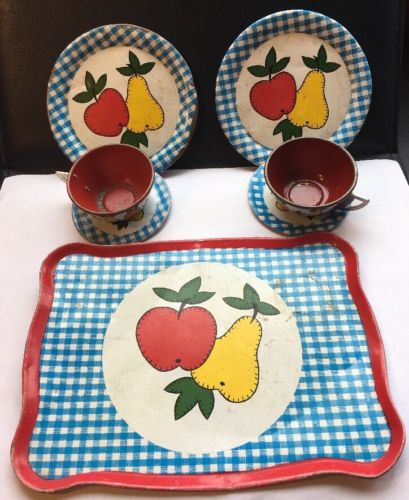 Vintage Ohio Art Child's Tea Party Dishes Fruit Cup & Saucer Plates Tray OA-3