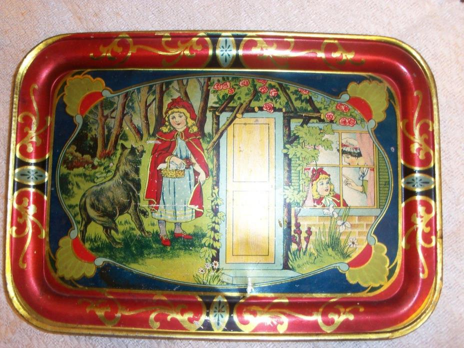 Vintage Children's Metal Tray-Little Red Riding Hood