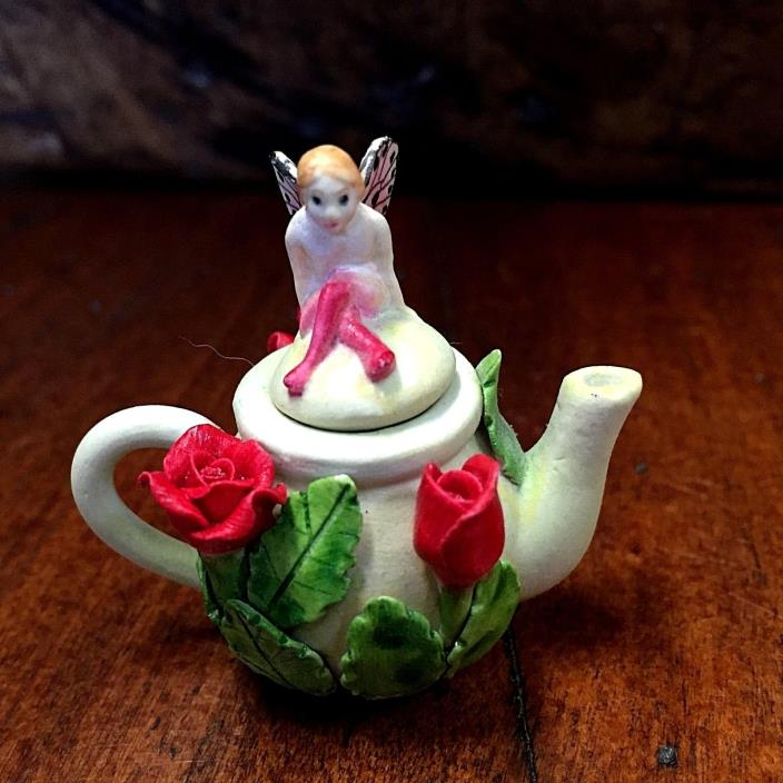 Vintage Miniature 2 in Ceramic Rose Flower Teapots Winged Fairy LId Khein 1980's