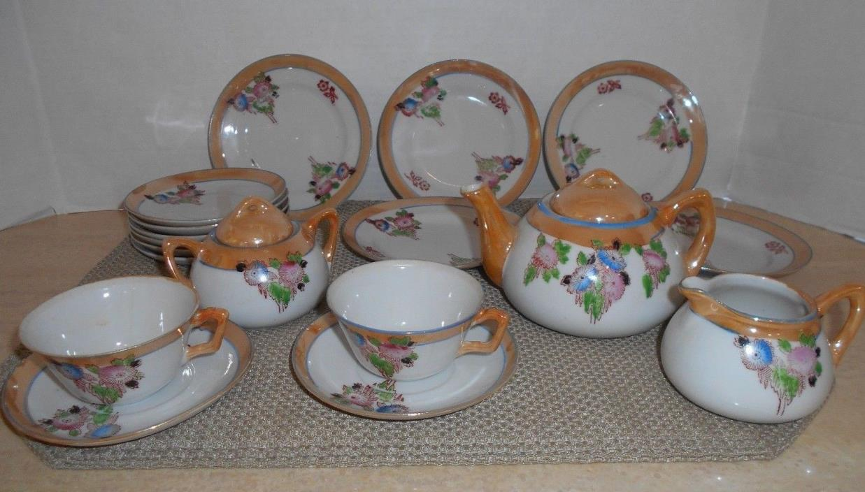 VTG Child's Luster Ware Tea Set Made In Japan 20 Pieces Tea Pot Creamer Sugar &