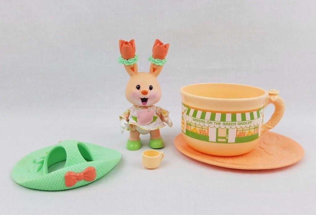 Vintage Tea Bunnies Tulip Blossom Green Cup Saucer Bunny Hat KidsView Uneeda