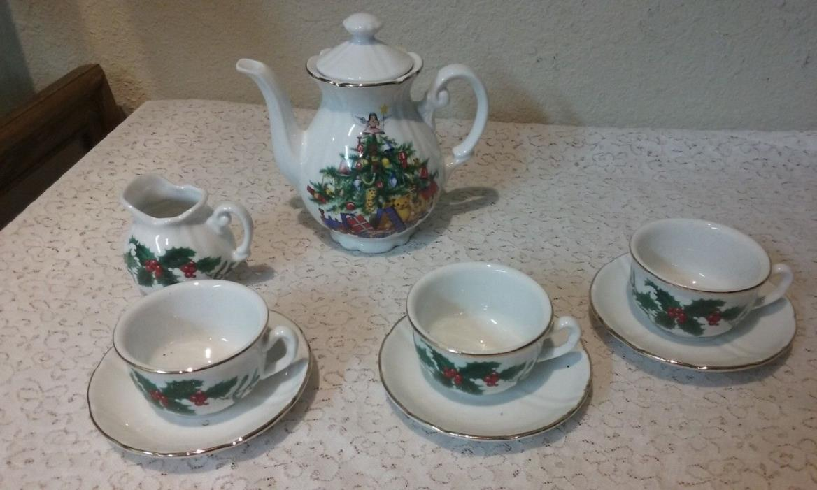 Vintage 9 piece Christmas Doll or Childs Tea Set Porcelain by Roehler Germany