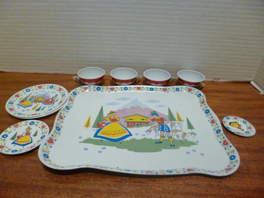 Vintage 1960s Ohio Art Tin Toy Tea Set Dutch Nice
