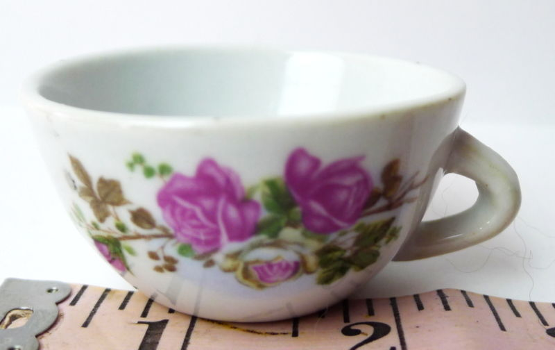 porcelain tea cup with roses vintage toy made in China replacement part