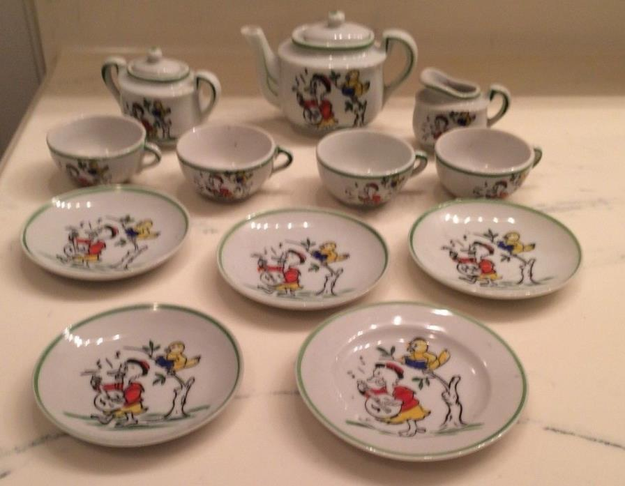 VIntage 1950s ceramic tea set, cartoon duck with banjo and singing canary