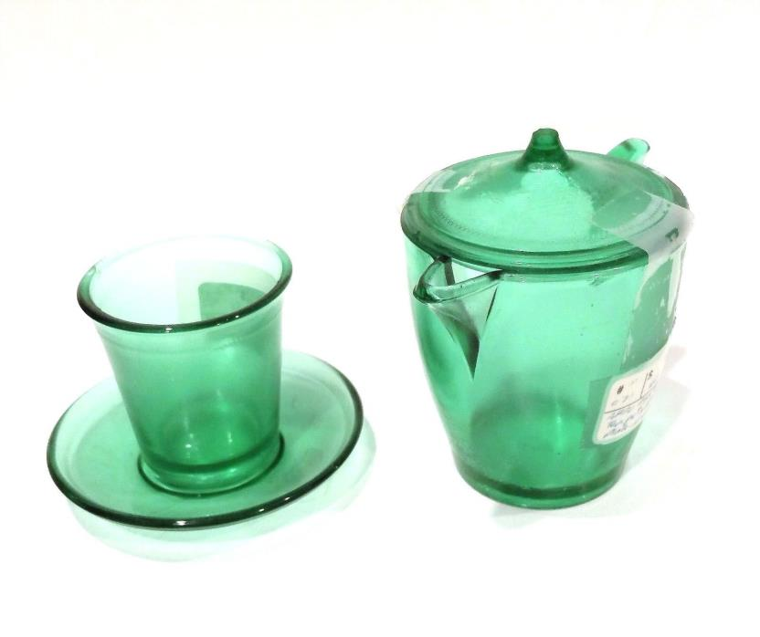 Akro Agate Green Vintage Glass Miniature Teapot / Pitcher w/ lid & Cup w/ Saucer