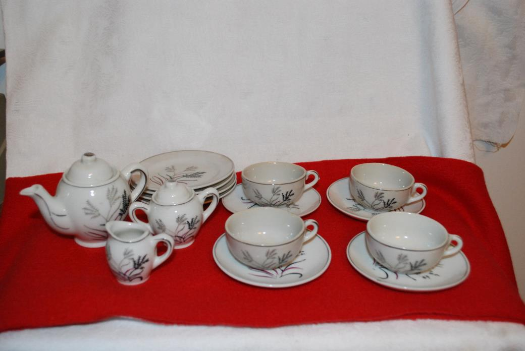 vtg HAND PAINTED CHINA CHILD'S TEA SET MADE IN JAPAN 15 PC. wheat pattern
