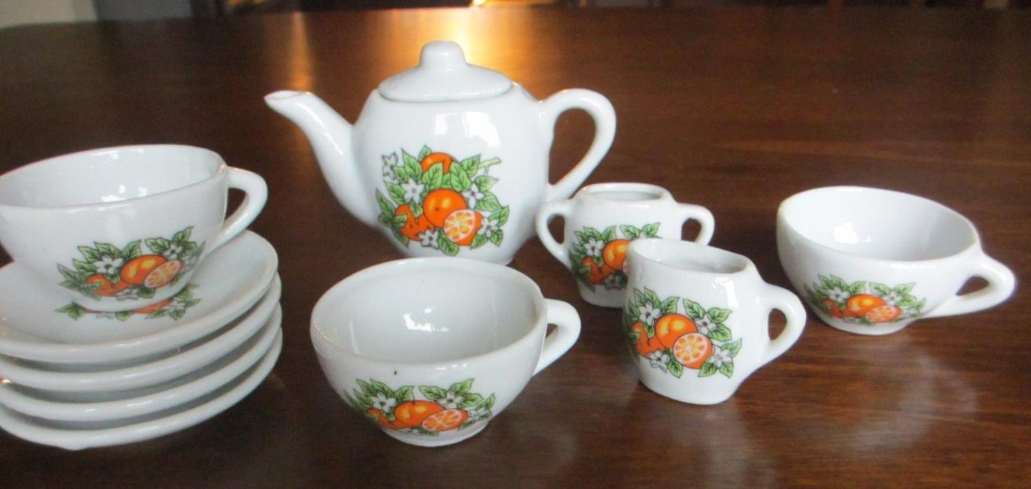 Vintage Ceramic child's Tea Set, 11 pieces, 1960's