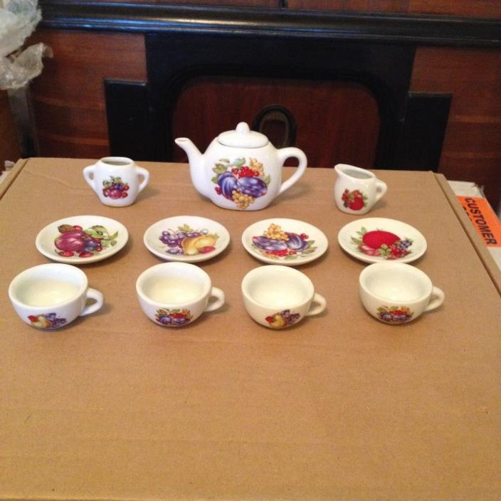 vintage miniture fruit pattern tea set
