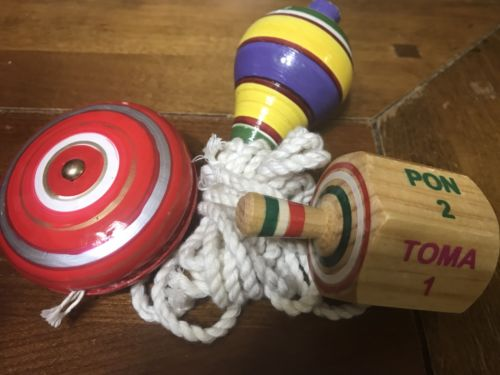 3 Pack Wooden Mexican Handcrafted Classic Toys: Trompo + Pirinola + Yoyo