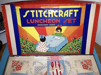 Concord Toy Company, Vintage Stitchcraft Luncheon Set Embroidery Outfit