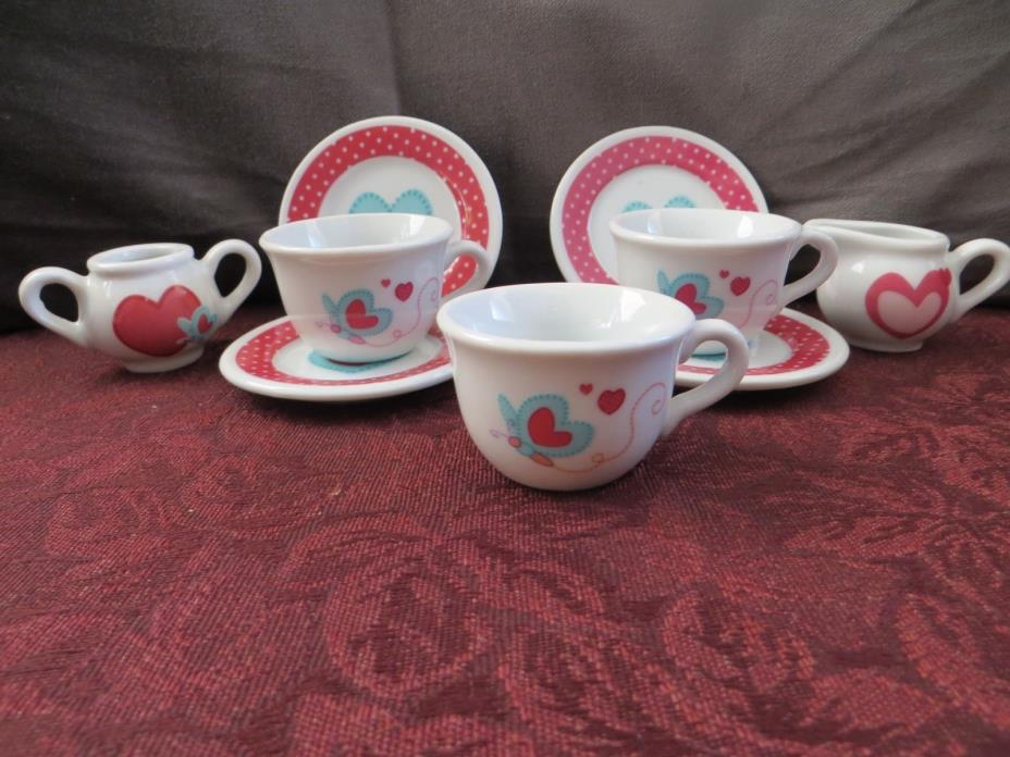 Child's Tea Set 9 pieces heart motif plates cups creamer sugar miniatures doll