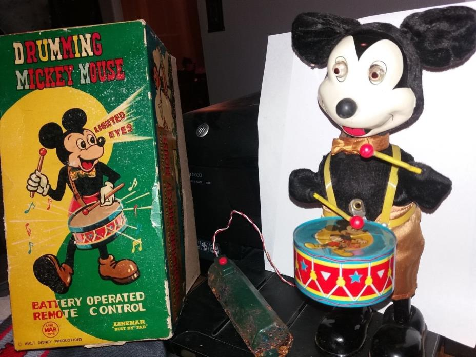 Linemar Drumming Mickey Mouse tin toy w/ REMOTE  ***RARE**
