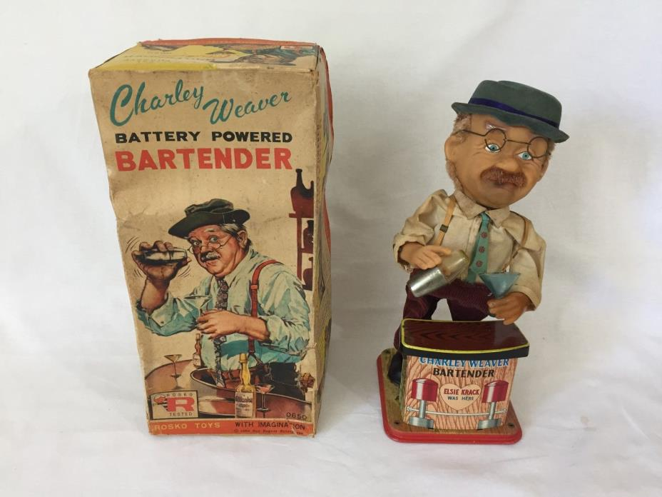 Vintage 1962 Charley Weaver Battery Operated Bartender With Box - Not Working