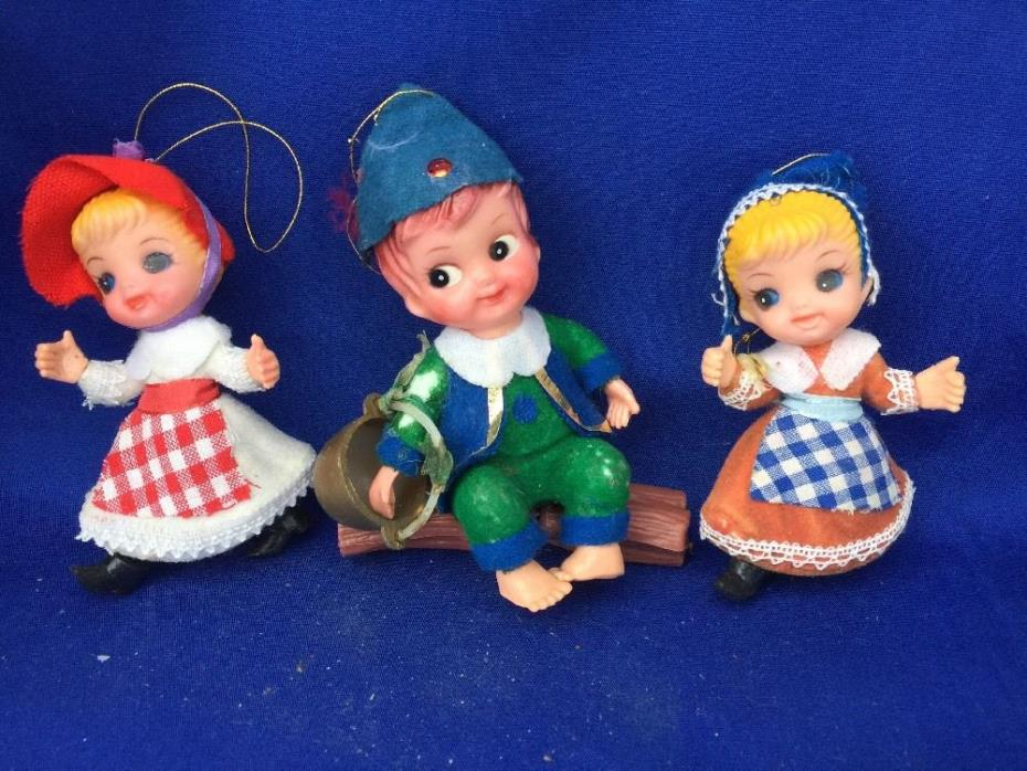 JACK & JILL x2 DOLLS  HOLLAND DUTCH Girl Antique Bucket Pail Christmas Ornaments