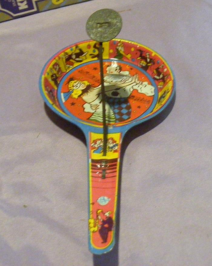 Vintage Tin Litho Noisemaker US Metal Toy Mfg Co New Years Halloween